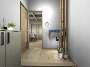 玄関手洗いコーナー造作工事