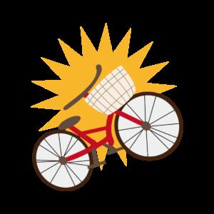 自転車と母
