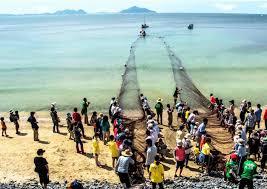 地元の地引網漁